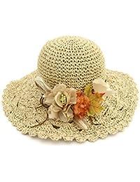 Yaojiaju 夏のストロー帽子、ファッショナブルな夏の花ストロー日帽子ロールブリム日焼け止め幅広い女性のための旅行帽子 (色 : Beige)