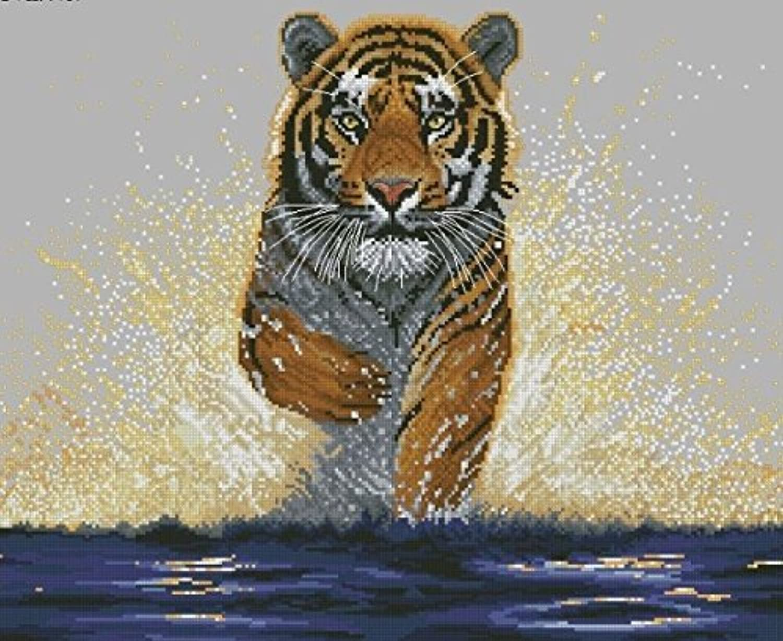 Qihu's 5d Crystal Diamond Painting DIY Counted Paint By Number Kits, Animal Big Tiger Picture by Qihu [並行輸入品]