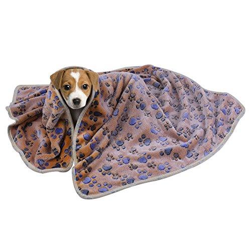 Petacc 犬 猫 ペット用 ブランケット 毛布 マット タオル ソフト サンゴの絨 秋冬の防寒 暖か 体拭き 洗える 肉球柄