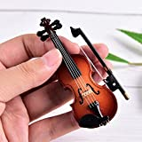 Dengguoli Size 7.6cm Mini Violin Dollhouse Miniature Musical Instrument Wooden Model Decor with Bow, Stand Support, and Case