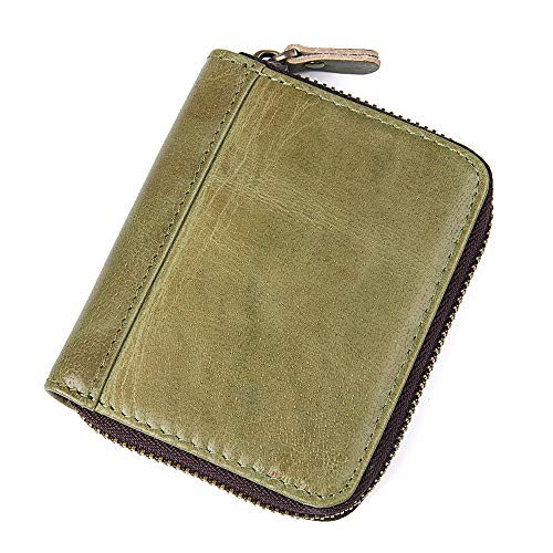 Emostya 財布 カードケース 二つ折り 本革 高級牛革 カード20枚 小銭入れ スキミング防止 メンズ レディース グリーン