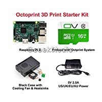 FidgetGear 2016 Octoprint 3D Print Starter Kit for Raspberry Pi 3 Model B+Power Supply+Case 5V 2.5A EU Power
