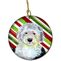 Carolines Treasures LH9261-CO1 Old English Sheepdog Candy Cane Holiday Christmas Ceramic Ornament