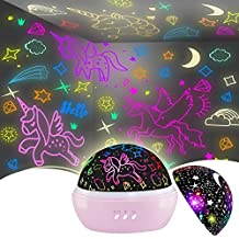 Night Light for Kids,Unicorn Night Light&Star Projector Gifts for Kids Toddlers, Toys for 3-8 Years Old Girls,Baby Nursery Night Lamp 16 Colors Rotating Unicorn Lights for Girls Bedroom