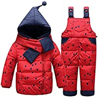 BATHAN Baby Girls Two Piece Puffer Down Winter Warm Scarf Dot Printed Snowsuit Jacket with Snow Ski Bib Pants
