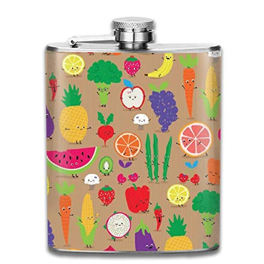 気取らない上へ秋果物と野菜フラスコ スキットル ヒップフラスコ 7オンス 206ml 高品質ステンレス製 ウイスキー アルコール 清酒 携帯 ボトル