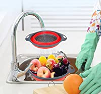 Kitchen Dry Tool Foldable Silicone Colander Fruit Vegetable Washing Basket Net Filter Strainer Collapsible Drainer With Handle:Red, S