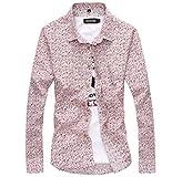 (ベクー)メンズ 花柄 シャツ 半袖 長袖 総柄 ワイシャツ 柄物 カッターシャツ (XL, 長袖 ピンク)