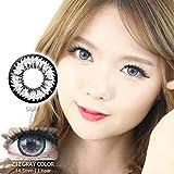 【度なし】韓国カラコン 14.5mm 1年用 2枚入り -0.00 カラーコンタクト グレー color contact lens 【Z12 GREY】