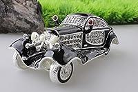 Antique Car Handmade Jeweled Metal & Enamel Trinket Box