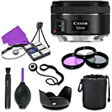 Canon EF 50mm f/1.8 STM Lens for Canon Digital SLR Cameras with 49mm Filter Kit (UV CPL FLD) + Accessory Bundle (12 Items)