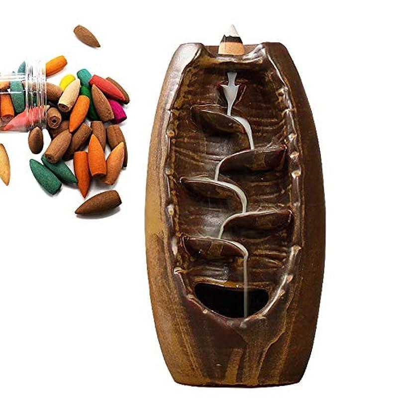 信仰藤色現代Aromatherapy,Alligado Ceramic Incense Burner Backflow Zen Mountain River Incense Holder Backflow Incense Ceramic...