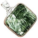 Lovegem 本物の Seraphinite セラフィナイト シルバー 925 ペンダント, 39 mm, AP3277