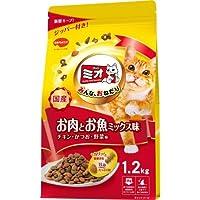 (まとめ買い)日本ペット ミオドライミックス お肉とお魚ミックス味 1.2kg 猫用 キャットフード 【×4】