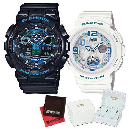 【セット】ペアウォッチ [カシオ]CASIO 腕時計 GA-100CB-1AJF メンズ・BGA-190-7BJFレディース ・専用ペア箱(Gショック& ベビーG)・マイクロファイバークロス 2枚セット V-81776
