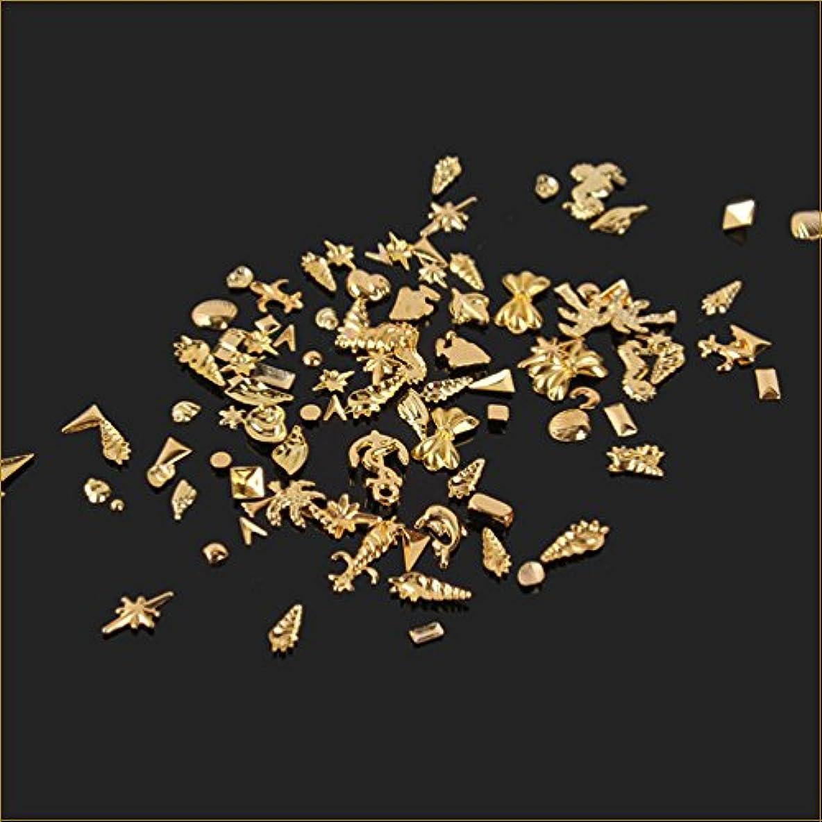 所属指定画面ネイルパーツ シェルパーツ ネイルアートパーツ 貝海系 100個入りサマーゴールド スタッズ ジェルネイル