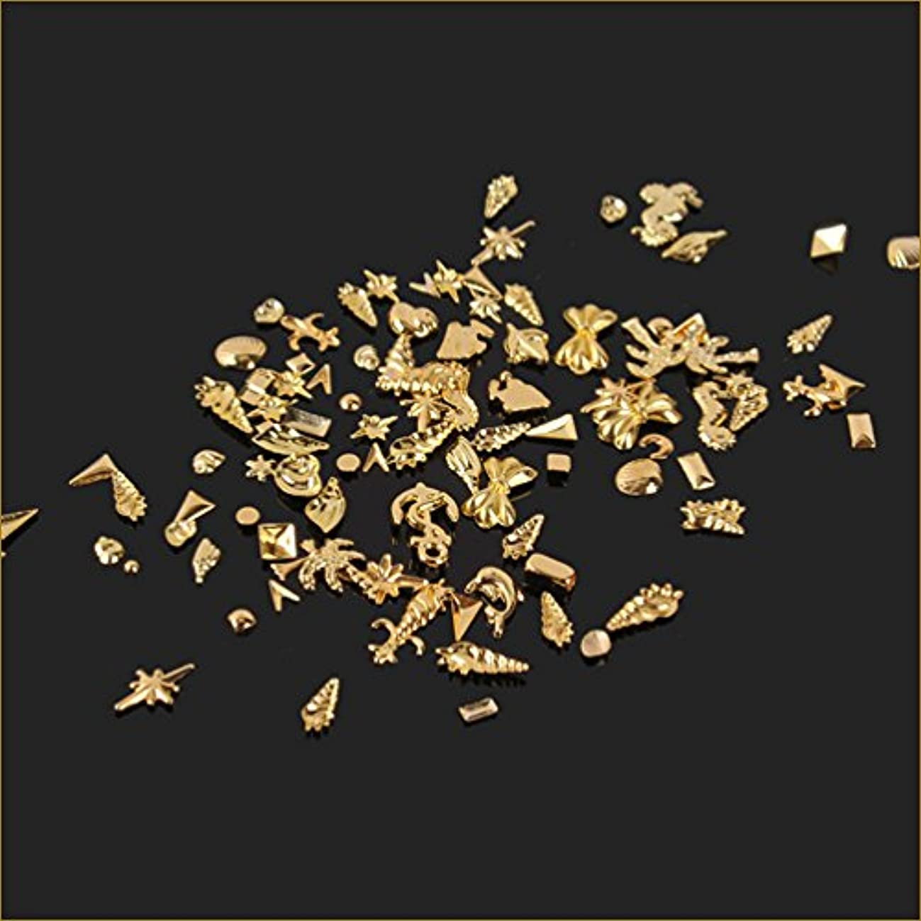 値ぜいたく書誌ネイルパーツ シェルパーツ ネイルアートパーツ 貝海系 100個入りサマーゴールド スタッズ ジェルネイル