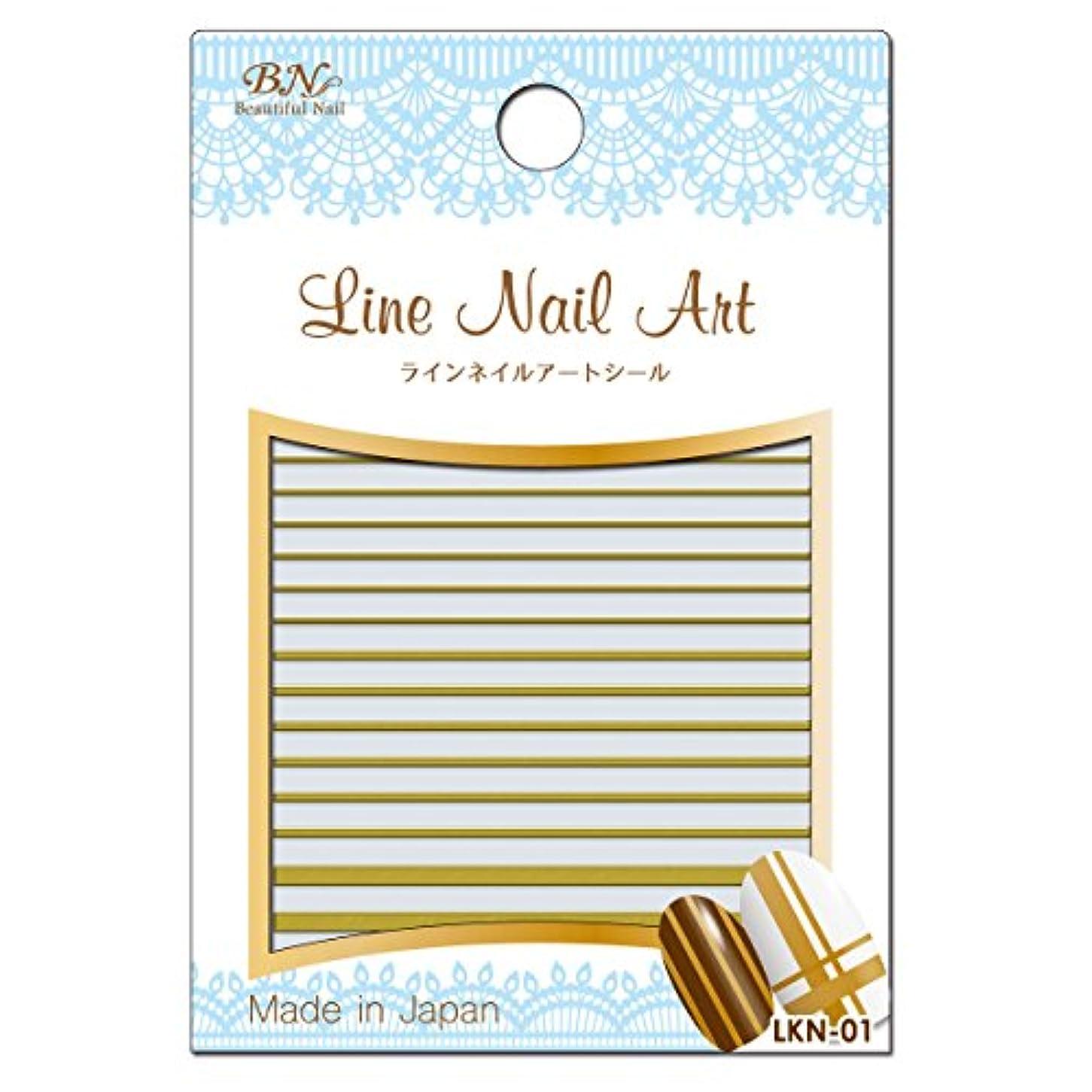 小石感動する慢なBN ラインネイルアートシール LKN-01 ライン 箔ゴールド (1シート)