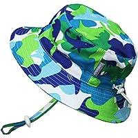 子供用速乾性 50+ UPF 日光予防帽子、サイズの調整可能。チン?ストラップ付き。(L: 15ヶ月-5年, 青いサメ)