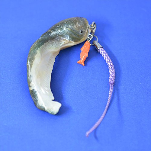 ナマズ 夜光貝製 根付 桃色珊瑚製 コイ付き 薄紫色紐