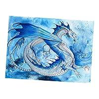 Perfeclan 1セット 5D DIY ダイヤモンドペインティング 絵画キット 40×30cm 新築祝い 装飾 全8種 - ドラゴン