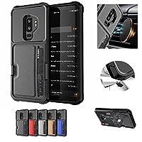 Galaxy S9 Plus ケース,VVSURE 落下防止 耐衝撃性 スタンド機能 おしゃれ 高級感 滑り止め シンプル バックカバー 車用ホルダー対応 [カード収納] ケース 適切なギャラクシー S9 プラス(ブラック)