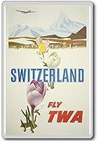 Fly TWA Switzerland, Europe - Vintage Travel Fridge Magnet - ?????????