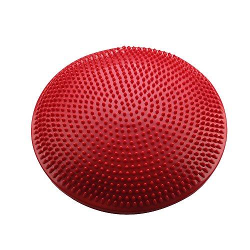 バランスディスク  バランス クッション 体幹 トレーニング エクササイズ ヨガ ゴルフ ポンプ付き (赤)
