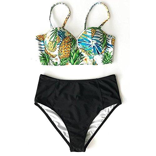 ファッション女性の女の子ビキニ下着パッド入りセクシー幸運な太陽なビーチパイナップルプリントスーツ水着ナイロン、ポリエステル、スパンデックス素材夏 (M, 黄)