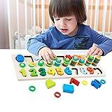 モンテッソーリ 積み木 幼児 学習 パズル - Sendida 知育玩具 数字 パズル 型はめ 幼児 木製 1-10 おもちゃ パズル 数字 ゲーム 知育おもちゃ 学習玩具 ブロックおもちゃ 数学力アップ 画像