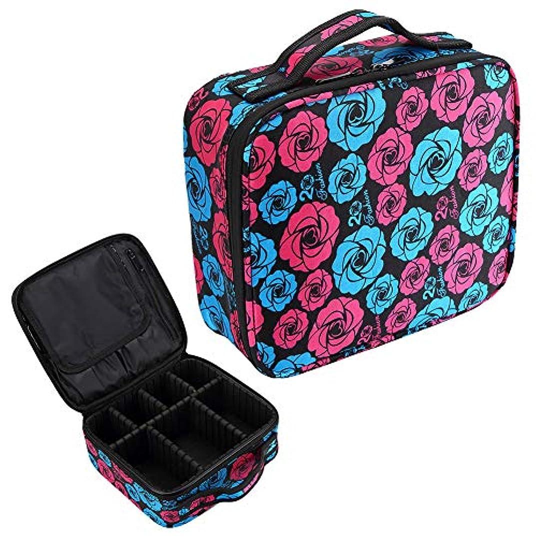 生まれご覧ください生産的HOYOFO メイクボックス プロ用 大容量 機能的 おしゃれ メイク収納 化粧道具 化粧品収納 小物入れ メイクブラシ入れ 旅行 花柄 バラ