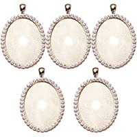 EXCEART 5pcs Oval Jewelry Bezels Gold Earring Bracelet Cabochon Blank Pendant Trays DIY Necklace Drop Charms