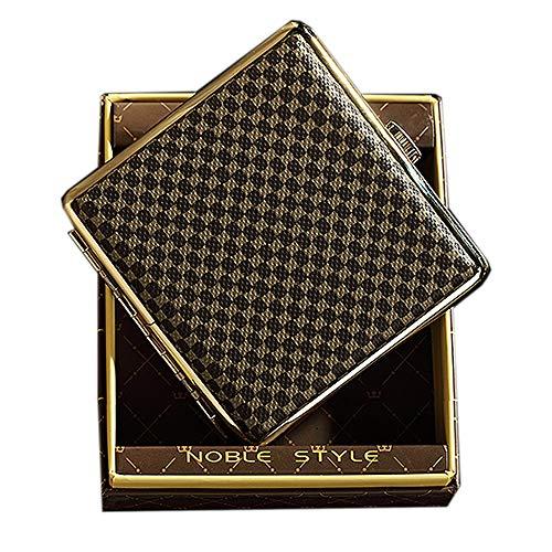 NGE シガレットケース 20本 メンズ おしゃれ 薄型 スリム 防水 チェック柄 革調 真鍮 シガレット ケース ショート 耐久性 人気 高級 ギフトケース付き