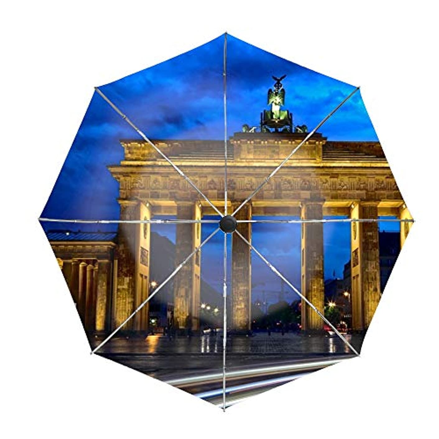 動員するひねり導体日傘 折りたたみ傘 ブランデンブルク門ベルリン 晴雨兼用 UVカット率99.9% 耐風撥水 二重生地 紫外線遮蔽 レディース 日焼け対策