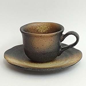 コーヒーカップソーサー 黒備前吹き フリル 土物 美濃焼 和陶器 カフェ 食器 業務用 3b534-09