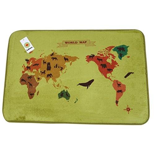 (ライフィーズ) Lifees マット 40×60cm 世界地図 World Map 玄関マット キッチンマット インテリア (グリーン)