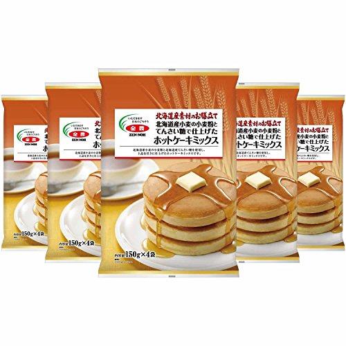 全農 北海道素材のお膳立て 北海道産小麦の小麦粉とてんさい糖で仕上げたホットケーキミックス (150g×4袋) 600g×5個