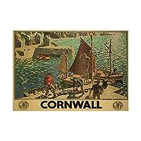 TRAVEL CORNWALL UK FISHING BOAT GULL SEA TRAIN RAILWAY FRAMED ART PRINT イギリス