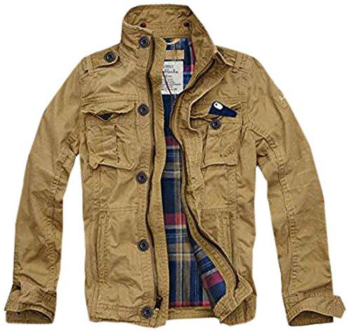 (カリホリ) Cali Holi ミリタリージャケット メンズ 冬 大きいサイズ フード m65 (XL, E/ベージュ 裏地チェック)