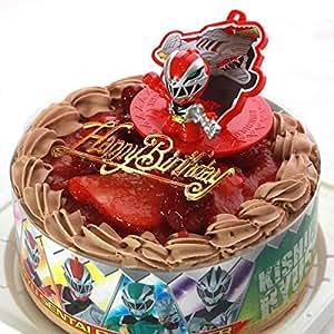 バースデー/騎士竜戦隊リュウソウジャー・キャラデコお祝いケーキ・チョコ生クリーム苺デコレーションケーキ5号スライス苺2段サンド(バースデーオーナメント・キャンドル6本付き)