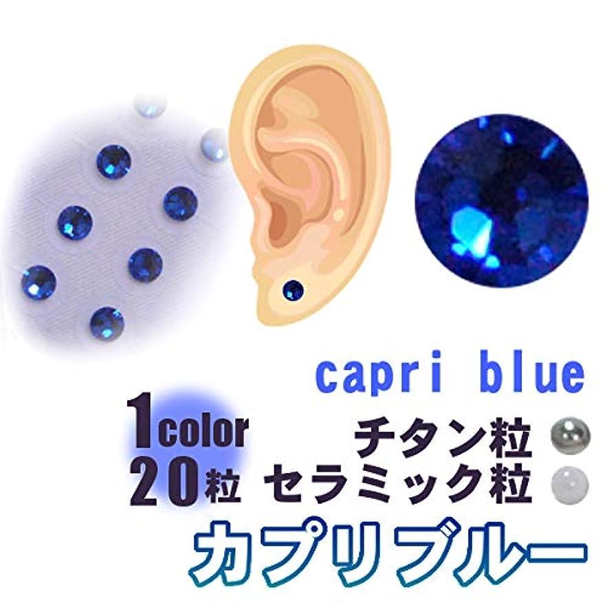 凍るポーズ聖人耳つぼジュエリー(1シート20粒)カプリブルーー粘着強化耳ツボシール (S ss7 約2mm) 【初心者用耳つぼマップ付】