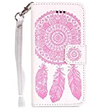 UNEXTATI iPhone SE ケース PUレザー 手帳型ケース カバー カード収納 ストラップ 付き Apple iPhone SE 用 Case Cover (ピンク #2)