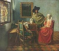 絵画風 壁紙ポスター (はがせるシール式) ヨハネス・フェルメール 紳士とワインを飲む女 1658年頃 ベルリン絵画館 キャラクロ K-JVM-036S2 (594mm×509mm) 建築用壁紙+耐候性塗料