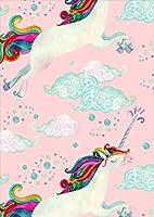 ポスター ウォールステッカー シール式ステッカー 飾り 203×254㎜ 六つ切り 写真 フォト 壁 インテリア おしゃれ 剥がせる wall sticker poster p2lwsxxxxx-011353-ds ペガサス 虹 ピンク