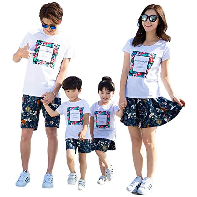 (ジュタオピン)親子ペアルック 上下セット 白 Tシャツ 半袖 ショートパンツ ママスカートにインナーパンツ付き 花柄 90 100 110 120 130 140 150 S M L LL 3L 4L