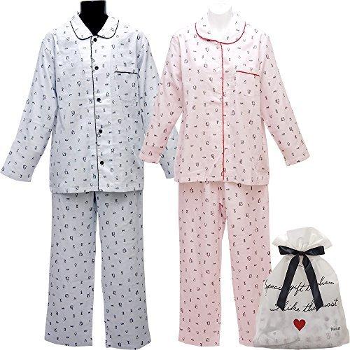 [ナルエー] Neco Sleep with Narue Wガーゼペンギンプリントペアセット セットアップ(前開き)(2枚組) レディース 18-12501 ピンク×ブルー 日本 M-L (日本サイズM-L相当)
