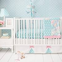 My Baby Sam Pixie Baby 3 Piece Crib Bedding Set, Aqua and Pink by My Baby Sam