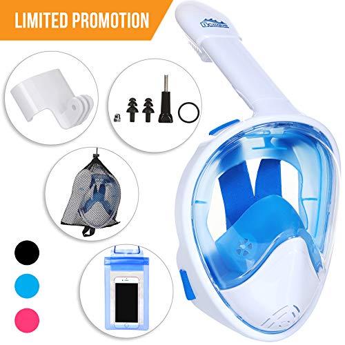 Full Face Snorkel Mask - Scuba Diving Set with Tubeless, Anti-Fog & Anti-Leak Design - 180 ° Panoramic Viewing - Free Universal Waterproof Case for Phone & Earplugs - GoPro Adapter (Blue, L/XL)