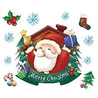 ウォールステッカー クリスマスウォールステッカー クリスマス 窓ガラス ステッカー 雪の結晶 雪花 サンタクロース クリスマス 壁紙シール 立体 ドア装飾 居間 寝室 剥がせる壁紙 シール DIYインテリアステッカー 店舗 パーティー 飾り用品 新年 飾り 雰囲気満点 (マルチカラー)
