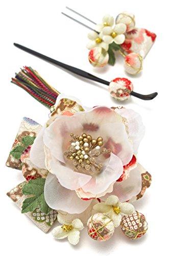 髪飾り 花 和柄 組紐 和装 [成人式/振袖/卒業式/袴/着物/和装]